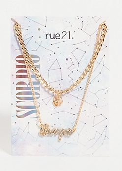Gold Scorpio Layered Necklace Set