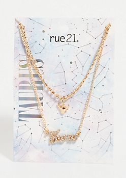 Gold Taurus Layered Necklace Set