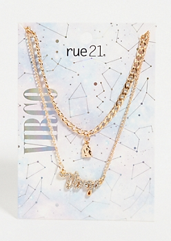 2-Pack Gold Virgo Layered Necklace Set