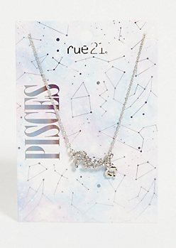 Silver Pisces Astrology Charm Necklace