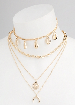2-Pack Gold Layered Puka Shell Necklace Set