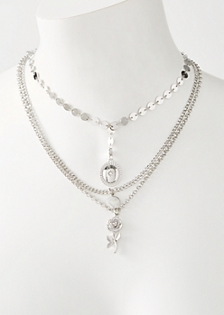 Silver Three Layer Circle Chain Rose Necklace
