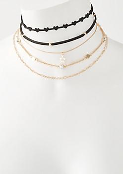 5-Pack Velvet Star Charm Choker Necklace Set