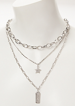 Silver Star Tag Layered Chain Necklace