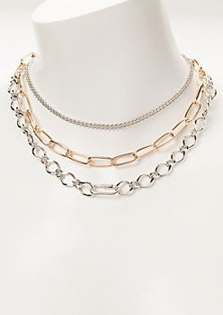 Mixed Metal Layered Chunky Chain Necklace