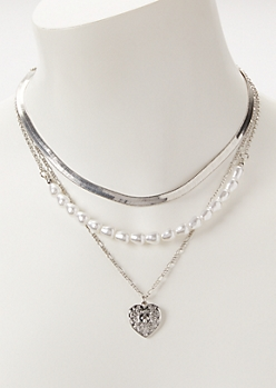 Silver Chain Pearl Layered Necklace