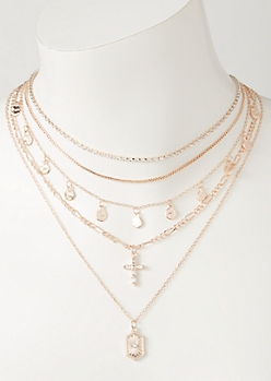 Rose Gold Mixed Chain Layered Necklace