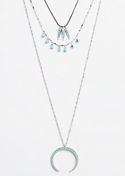 Turquoise Pendant Layered Necklace