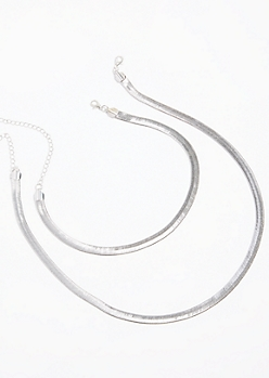2-Pack Silver Chain Necklace Set