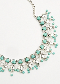 Silver Faux Turquoise Bib Necklace