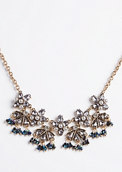 Gray Blue Statement Necklace