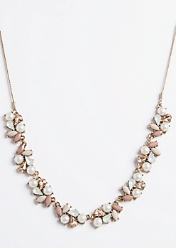 Mauve Pearl Gemstone Statement Necklace