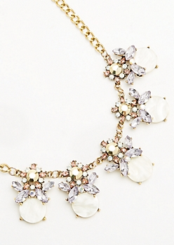 Golden Floral Statement Necklace