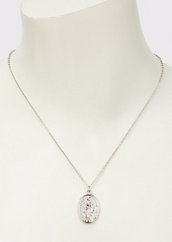 Silver Saint Pendant Necklace