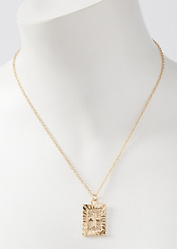 Gold Square Cross Pendant Necklace