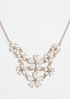 Rose Gold Glitter Flower Statement Necklace
