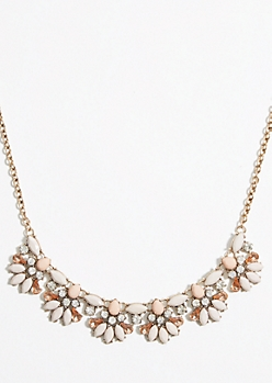 Pastel Cream Ornamental Statement Necklace