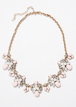 Pale Pink Floral Patterned Statement Necklace