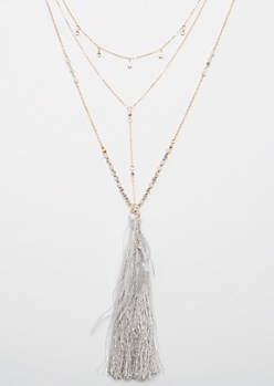 2-Pack Gold Feather Tassel Necklace Set