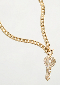 Gold Iridescent Key Pendant Necklace