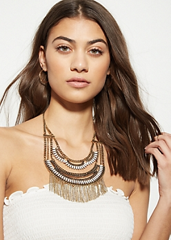 Brass Layered Structure Fringe Statement Necklace