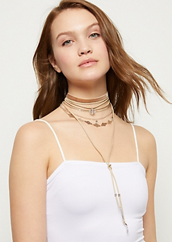 5-Pack Wrap Bow Choker Necklace Set