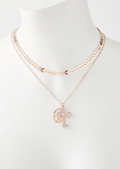 2-Pack Rose Gold Chevron Cross Necklace Set