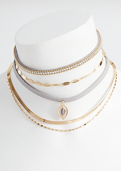 5-Pack Gold Oval Pendant Choker Necklace Set