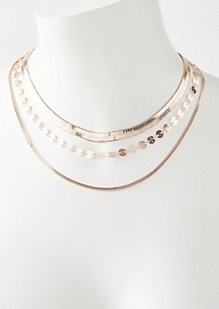 Rose Gold Multi Chain Layered Necklace