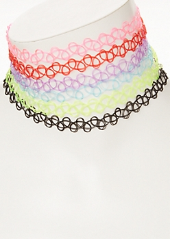 6-Pack Neon Tattoo Choker Necklace Sets