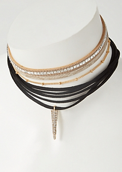 5-Pack Gold Velvet Dangle Studded Choker Necklace Set