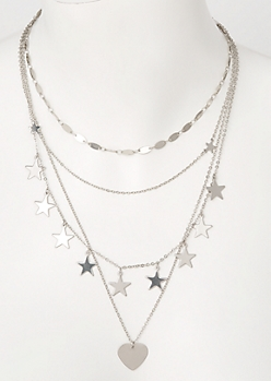 Silver Layered Star Heart Necklace
