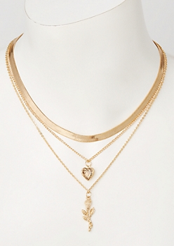Gold Layered Heart Rose Necklace