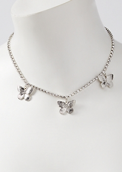 Silver Rhinestone Butterfly Charm Necklace