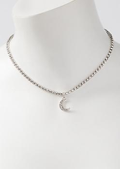 Silver Rhinestone Moon Charm Necklace