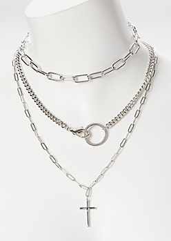 3-Pack Silver O-Ring Cross Necklace Set