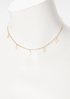Gold Lightning Bolt Charm Necklace