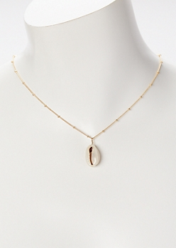 Gold Cowry Shell Charm Necklace