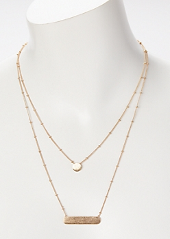 Gold Bar Chain Layered Necklace