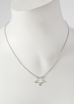 Silver Cutout Star Charm Necklace