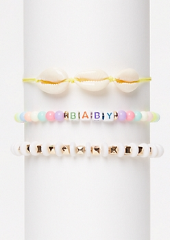 3-Pack Yellow Cowry Shell Wish Bracelet Set
