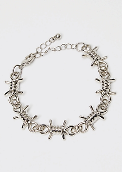 Silver Barbed Wire Bracelet