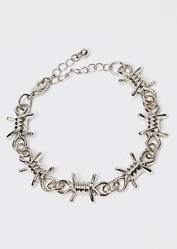 Silver Barbed Wire Bracelet