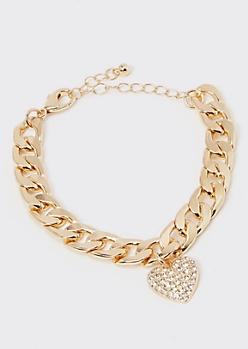 Gold Pave Chain Rhinestone Heart Charm Bracelet