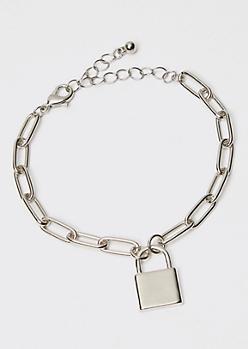 Silver Oval Chain Lock Charm Bracelet