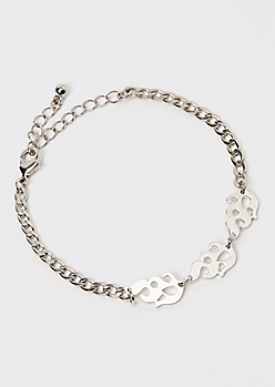 Silver Metal Flame Curb Chain Bracelet
