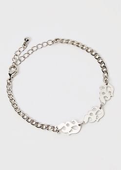 Silver Metal Flame Curb Chain Bracelet