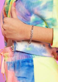 Silver Rhinestone Angel Nameplate Bracelet