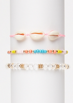 3-Pack Pink Cowry Shell Wish Bracelet Set