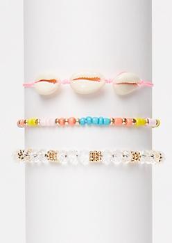 3-Pack Pink Cowry Shell Wish Bracelet Set